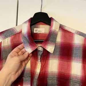 Cotton plaid shirt (not flannel)